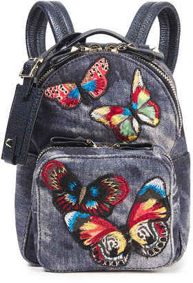 Valentino Camu Butterfly Appliqued Tie-dyed Denim Backpack