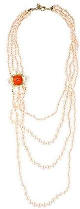 Chanel Faux Pearl CC Multistrand Necklace