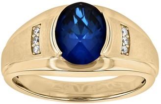 Men's 14k Gold Over Silver Lab-Created Blue & White Sapphire Ring