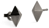 Marion Cage Lis Stud Earrings - Sterling Silver and Black Rhodium