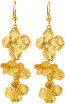 Kenneth Jay Lane Satin-Finished Golden Flower Drop Earrings