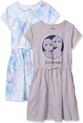 Spotted Zebra Junior's Standard Disney 2-Pack Knit Short-Sleeve Cinch Waist Dresses Frozen Sister Strong Medium (8)
