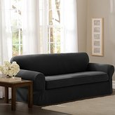 Maytex 2 Piece Pixel Stretch Fabric Sofa Slipcover, Charcoal