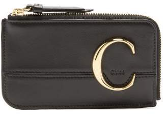 Chloé C-monogram Leather Card And Coin Purse - Womens - Black