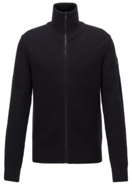 BOSS Regular-fit knitted jacket with stand collar