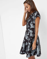 DANETIA Acanthus Scroll print skater dress
