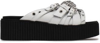 McQ Dusk Buckled Pebbled-leather Platform Slides