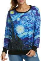 ACEVOG Neon Galaxy Cosmic Colorful Patterns Print Sweatshirt Sweaters