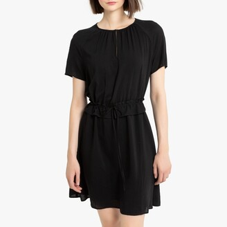 La Redoute Collections Short-Sleeved Shift Dress with Ruffled Waist and Round Neck