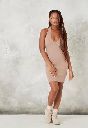 Missguided Mocha Rib Halter Neck Mini Dress