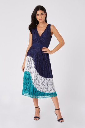 Little Mistress Halston Navy Lace Colour Block Midi Dress