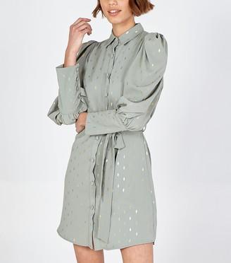 New Look Blue Vanilla Light Metallic Print Shirt Dress
