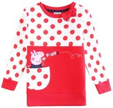 Tiful Peppa Pig Little Girls Spring Fall Long Sleeve Cartoon Embroide Cotton T-Shirts