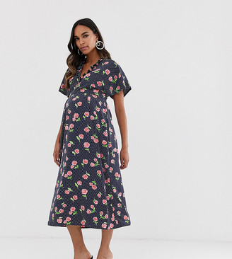 Queen Bee Maternity fluted sleeve midi dress in floral print