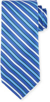 Neiman Marcus Striped Silk Tie, Navy