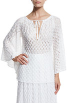 Missoni Lace-Knit Bell-Sleeve Blouse, White