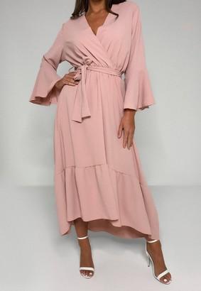 Missguided Blush Frill Sleeve High Low Midi Dress