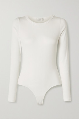 AGOLDE Leila Ribbed Stretch-micro Modal And Supima Cotton-blend Bodysuit - White