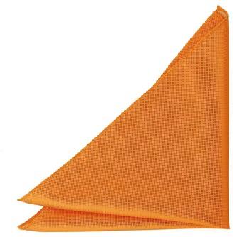 DQT Men Plain Solid Check Celosia Orange Pocket Square