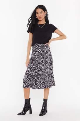 Nasty Gal Womens Pleated Giraffe Print Midi Skirt - black - 4