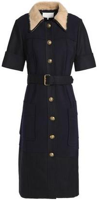 Maison Margiela Belted Paneled Stretch-knit And Twill Shirt Dress