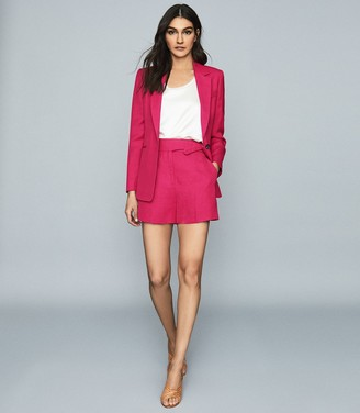 Reiss Ada - Linen Blend Single Breasted Blazer in Dark Pink