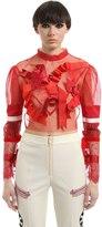 Dilara Findikoglu Ribbons Embellished Tulle Crop Top