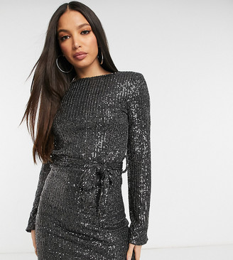 Club L London Tall sequin mini shift dress with belt in slate