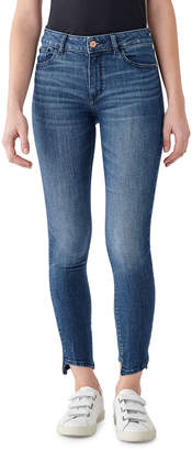 DL1961 Premium Denim Florence Ankle Mid Rise Skinny Jeans with Hem Detail