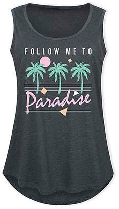 Instant Message Plus Women's Tank Tops HEATHER - Heather Charcoal 'Follow Me to Paradise' Tank - Plus