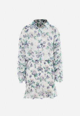 Missguided White Floral Chiffon Shirred Skirt Mini Dress