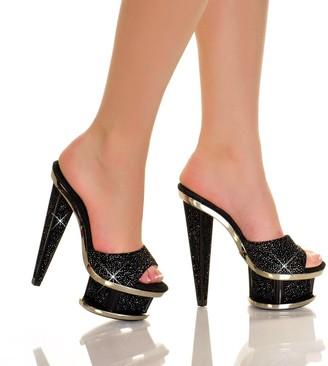 "The Highest Heel Spectrum Series 41 6"" Prism Heel Platform Mule with Glitter"