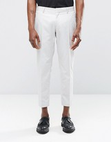 Religion Skinny Cropped Smart Trousers In Pale Grey