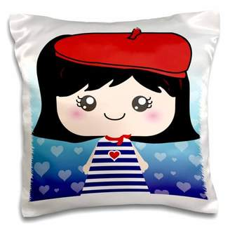 French Girl 3drose 3dRose Cute Kawaii Cartoon Doll in traditional France Paris Blue Stripe Dress red beret hat - Pillow Case, 16 by 16-inch