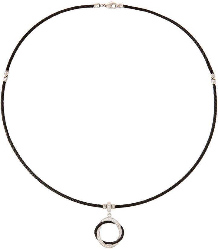 Alor Noir Cable & Diamond Circle Pendant Necklace