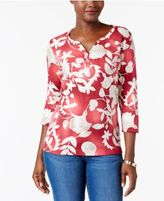 Karen Scott Printed Henley Top, Only at Macy's