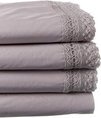 Boho Bed Vintage Wide Crochet Sheet Set