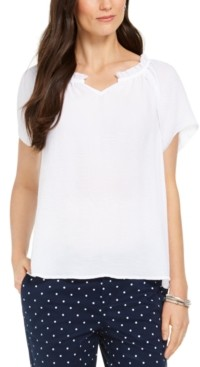 Style&Co. Style & Co Crinkle Flutter-Sleeve Top, Created for Macy's