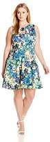Julian Taylor Women's Plus Size All Over Floral Printed Fit and Flare Dress