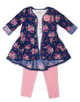 Little Lass Little Girl's Three-Piece Graphic Tee, Printed Cardigan and Leggings Set