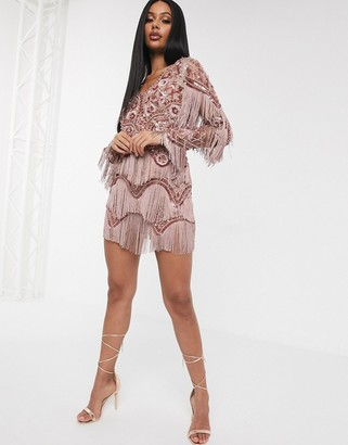 A Star Is Born exclusive embellished tassel mini dress with plunge front in mink