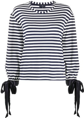 Fay Striped-Print Knot Detail Top