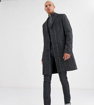 Asos DESIGN Tall wool mix overcoat in gray check