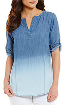 Westbound Petites Roll Sleeve Shirttail Tunic