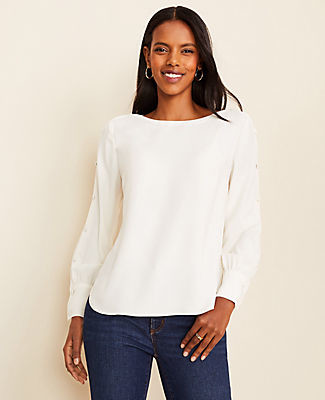 Ann Taylor Button Sleeve Boatneck Blouse