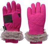 Joe Fresh Kid Girls' Fur Trim Ski Gloves, Pink (Size L/XL)