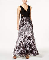 Xscape Evenings Illusion Printed Pleated Chiffon Gown