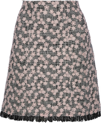 Giambattista Valli Floral-appliqued Cotton-blend Tweed Mini Skirt