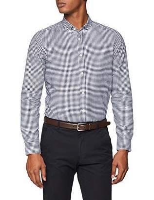 Burton Menswear London Men's Long Sleeve Navy Gingham Oxford Casual Shirt, Blue, Medium (Size:M)