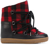 Isabel Marant tartan shearling Nowles boots - women - Leather/Sheep Skin/Shearling/Wool/rubber - 36